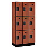Triple Tier Designer Wood Lockers